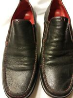 Michael Toschi Black/Red Trim Pebbled Leather Driving Loafer Moc Shoes Size 10.5