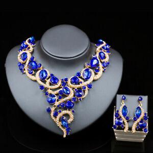 Africa Ladies Crystal Rhinestone Collar Choker Necklace Earrings Bridal Jewelry