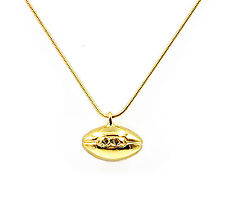 """Football Necklace with 22"""" Chain - Gold Plate"""