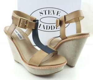 Steve Madden Bonzai T-Strap Platform Wedge Sandals Heels Blue Multi Size 6.5