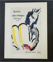 """Marc Chagall Moses  Mourlot  Poster offset Lithograph 9 1/2""""x12"""" 1975"""