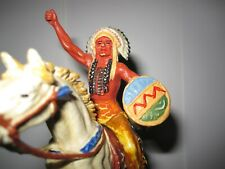 Elastolin Hausser Indianer Häuptling auf Pferd 7cm Altbemalung Top Figur