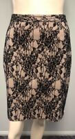 Portmans black straight skirt lace overlay over cream underlay size 14 Womens