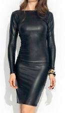 Donna Abito Nero PVC look bagnato Mini Midi Vinile Cuoio Bodycon Taglia 10 & 12
