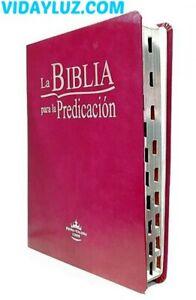 BIBLIA PREDICACION REINA VALERA 1960,LETRA GRANDE, PIEL GRANATE con INDICE