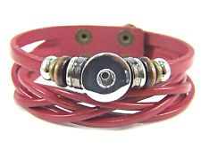 Noosa Style Chunks Snap Button Charms Leather Bracelet Ginger Snaps B'gundy