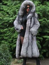 NEW LUXURY SAGA SILVER FOX FUR SWING COAT JACKET LARGE HOOD FULL LENGTH FUCHS L