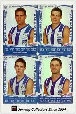 2011 AFL Teamcoach Trading Cards Silver Parallel Team Set North Melbourne (10)