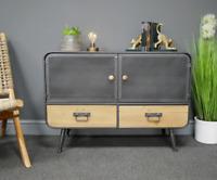 Industrial Side Cabinet Rustic Metal Sideboard Vintage Cupboard Unit Drawer Door