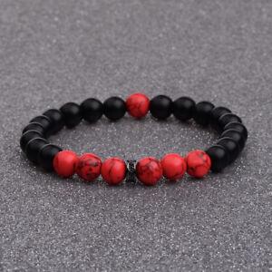 Natural Stone Red Agate Matte Onyx Rock Volcano Chakra Zircon Gasket Bracelets