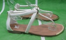 White/Gold Ankle Strap Back Zip Summer Sexy Sandal Shoes Size 6