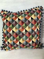 """Vibrant 18"""" x 18"""" Square 'Big Holland' Cushion Cover With Pom Poms"""