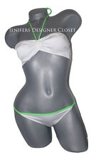 NWT JUST CAVALLI bikini I XS 40 swimsuit designer Roberto white logo lime green