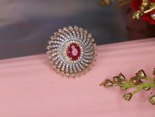 Diamond Ring Indian Jewelry Women Gold Rings Bridesmaid Jewellery Fashion Wear
