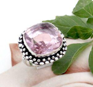 "Handmade 925 Sterling Silver Pink Topaz Gemstone Jewelry Ring (US) Size-9"""
