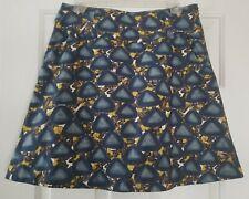 ANTHROPOLOGIE Skirt Sz 6 Fei African Coffee Bean Print Blue Brown A Line
