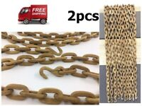 """Carved Chain Links Handmade Vintage WOODEN CHAIN FOLK ART Approx 40""""Long 2PCS"""
