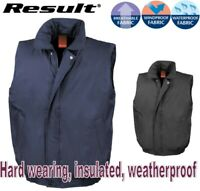 Mens BODYWARMER Gilet Hard Wearing PADDED Filed Lined WARM Waterproof - S to 2XL