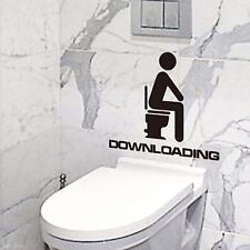 2Pcs Bathroom Toilet Seat DOWNLOADING Wall Sticker Decal Decor Reminder PVC