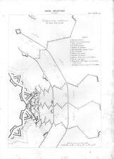Stampa antica ARTE MILITARE truppe schierate per l' assedio 1848 Old print
