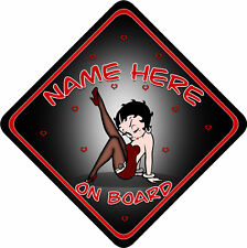 Betty Boop Car Sign Like Baby/Child On Board Bla & Red