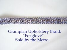 "Lavender Blue & Gold upholstery Braid ""Grampian Foxglove""18mm(sold by the Metre)"