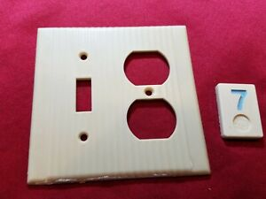1 Ivory Vtg Ribbed Deco Double Gang Switch Outlet Combination Cover Plate- BB7