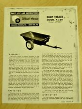 1962 WHEEL HORSE TRACTOR 7-2211 DUMP TRAILER PARTS LIST MANUAL