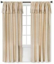 ONE PAIR Threshold TAN Window Curtain Panel w/ Built-In Valance (54x84)