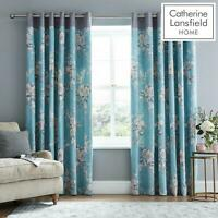 Catherine Lansfield Canterbury Downstairs Eyelet Floral Curtains Teal/Blue/Grey