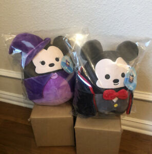 """BNWT Sealed 8"""" Vampire Mickey and Witch Minnie Halloween Squishmallow Plush Set"""