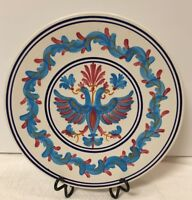 VTG Keramikos Hand Painted  Blue/Red Mystic Phoenixes Home Decor Porcelain Plate