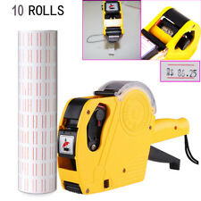 Pricing Price Tag Tagging Gun Labeler + 11 Ink Rolls Label White Red Sticker