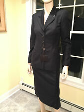 New w/ Tags SAKS $1400 NARCISO RODRIGUEZ 100% Wool Size 6 BLACK SKIRT SUIT