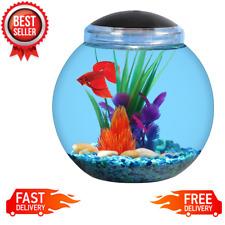 1-Gallon Globe Fish Bowl Aquarium Tank with 7 LED Light Color Break Resistant