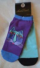 "Laurel Burch Cat Pattern Sport Socks ""INDIGO GATOS""  #15C023-02 TWO PAIR!"