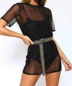 Ladies Short Sleeve Mesh See Through Short Mini Summer Dress Womens Casual Top