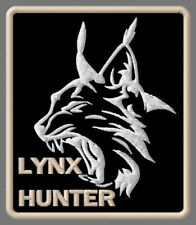 "LYNX HUNTER EMBROIDERED PATCH ~3-1/4"" x 2-7/8"" WILDLIFE BOBCAT OUTDOOR PREDATOR"