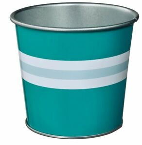 Ikea Kakiplommon Plant Pot 3 Set Turquoise White Stripe 9 cm or 12 cm Tall