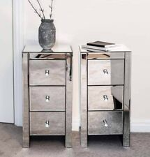 Premium Pair of Mirrored Bedside Tables Units Cabinets 3 Drawers Crystal Handles