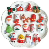 10X Christmas Tree Santa 3D Glitter Resin Accessories for Hair Bows Jewelry