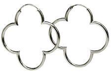 SILBERMOOS Damen Creolen Hoop Ohrringe Kleeblatt Flower 925 Sterling Silber