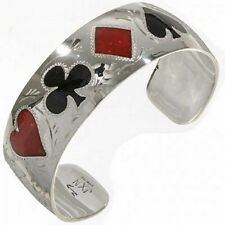 Sterling Silver Black Jade & Coral Casino Gambler Poker Bracelet by Jr Jackson