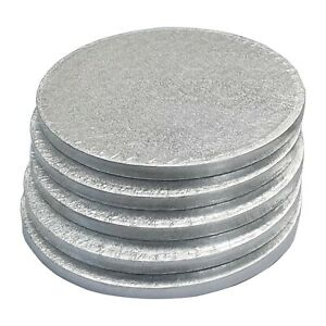BULK 5 PACK Cake Boards Round Square Silver Drum Board 12mm Thick - UK Stockist