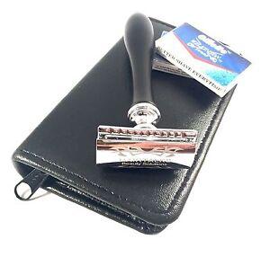 New Black Men Safety Razor Double Edge Razors 10 Free Blades & Pouch travel kit