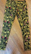 Lularoe TC Geometric Heart Pattern Leggings Yellow Black Red  Print