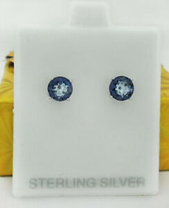 GENUINE 2.14 Cts IOLITE STUD EARRINGS .925 Sterling Silver * NEW WITH TAG *