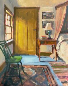 Plein Air Interior Home Bedroom Still Life 14x11in Original Oil Painting a Day