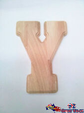 "Large Oak Wood Alphabet Letter ""Y"" Natural Brown Uppercase Home Decor Art Craft"