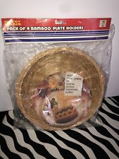Vintage Paper Plate Holders Bamboo Set of 4 Original Packaging Never opened